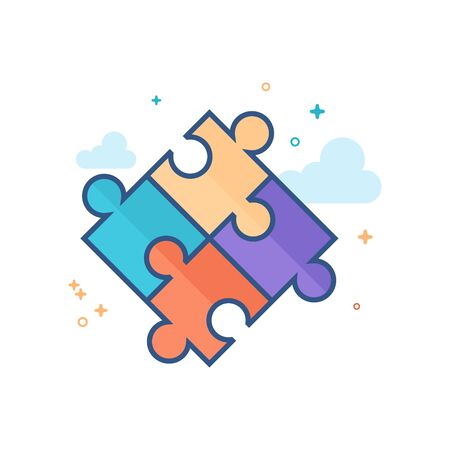 Puzzle icon in outlined flat color style. Vector illustration. Illustration