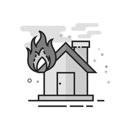 House fire icon in flat outlined grayscale style. Vector illustration.