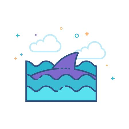 Shark icon in outlined flat color style. Vector illustration.