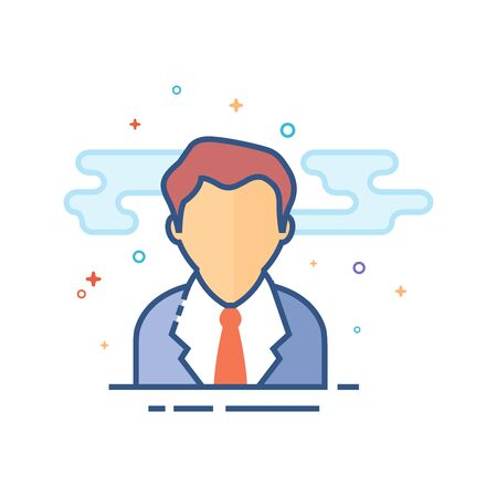 Businessman icon in outlined flat color style. Vector illustration. Illustration
