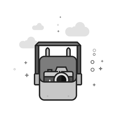 Camera bag icon in flat outlined grayscale style. Vector illustration.