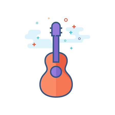 Guitar icon in outlined flat color style. Vector illustration.