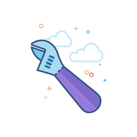 adjustable wrench icon in outlined flat color style. Vector illustration. Illustration