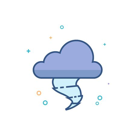 Storm icon in outlined flat color style. Vector illustration.