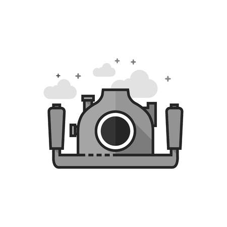 Underwater camera icon in flat outlined grayscale style. Vector illustration. Ilustrace