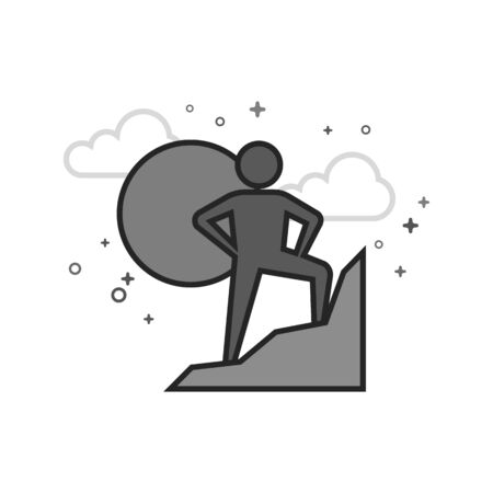 Rock climbing icon in flat outlined grayscale style. Vector illustration.