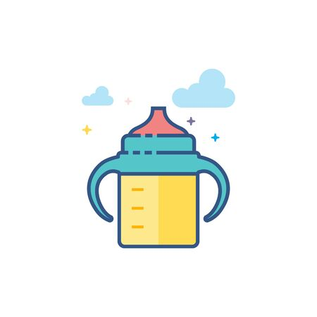 Milk bottle icon in outlined flat color style. Vector illustration.