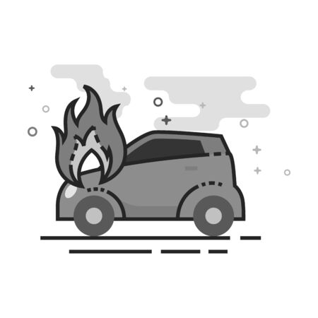 Car on fire icon in flat outlined grayscale style. Vector illustration.