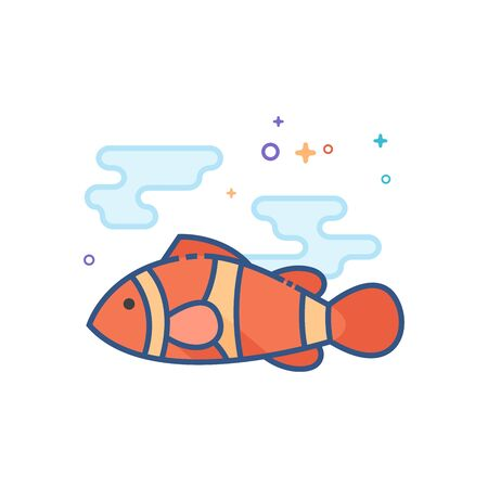 Clown fish icon in outlined flat color style. Vector illustration.