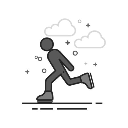 Ice skating icon in flat outlined grayscale style. Vector illustration.