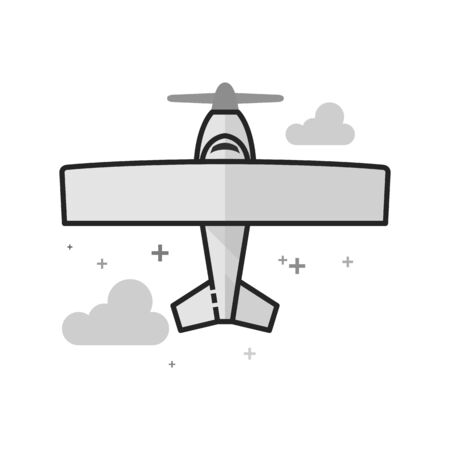 Vintage Airplane icon in flat outlined grayscale style. Vector illustration.