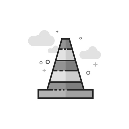 Traffic cone icon in flat outlined grayscale style. Vector illustration.