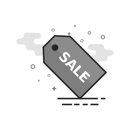 Sale tag icon in flat outlined grayscale style. Vector illustration.
