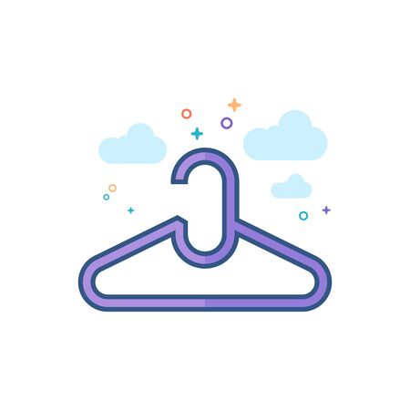 Clothes hanger icon in outlined flat color style. Vector illustration.