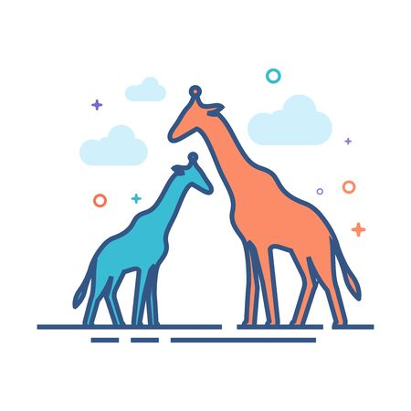 Giraffe icon in outlined flat color style. Vector illustration.