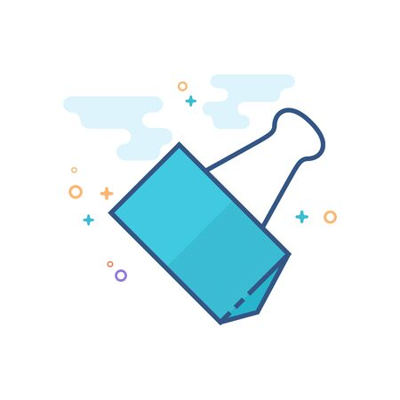 Binder clip icon in outlined flat color style. Vector illustration.