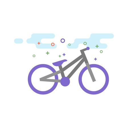 Trial bicycle icon in outlined flat color style. Vector illustration.