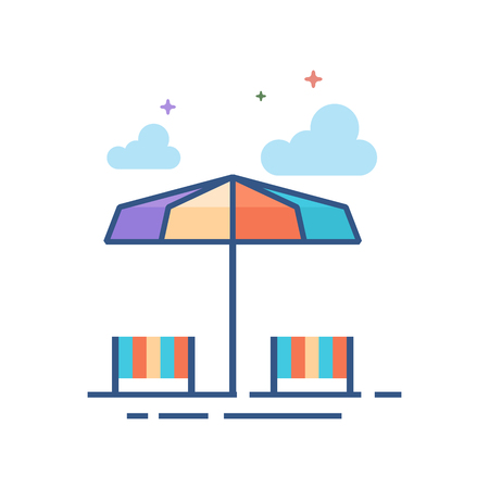 Beach umbrella icon in outlined flat color style. Vector illustration.