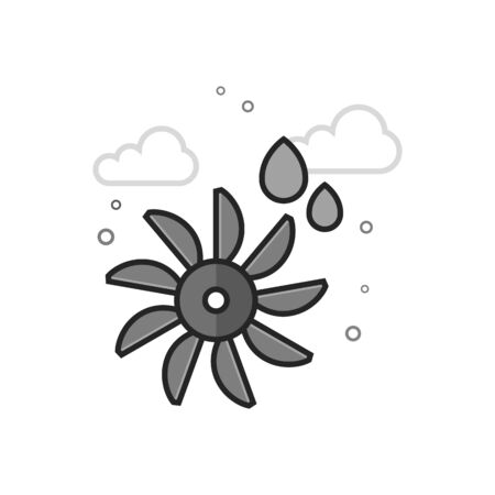 Water turbine icon in flat outlined grayscale style. Vector illustration.