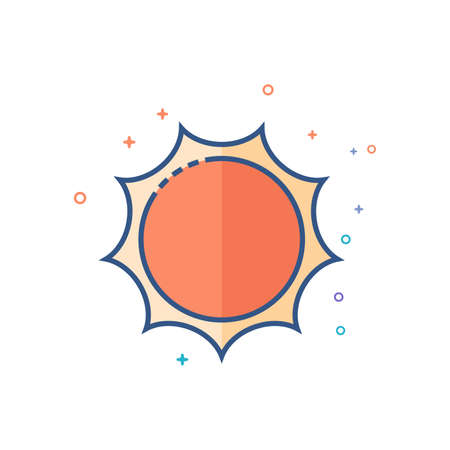 Weather forecast partly sunny icon in outlined flat color style. Vector illustration. Illustration
