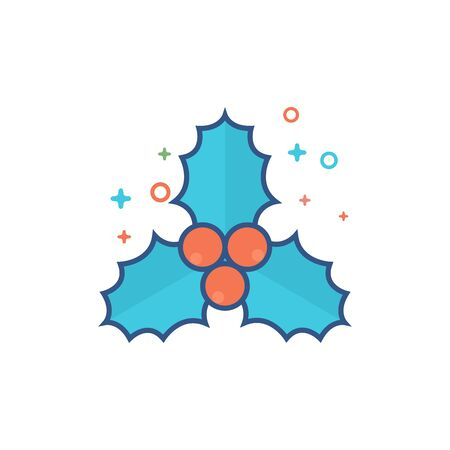 Christmas garland icon in outlined flat color style. Vector illustration.
