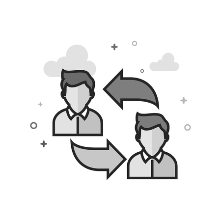 Employee rotation icon in flat outlined grayscale style. Vector illustration.