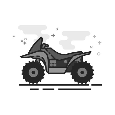 All terrain vehicle icon in flat outlined grayscale style. Vector illustration. Illustration