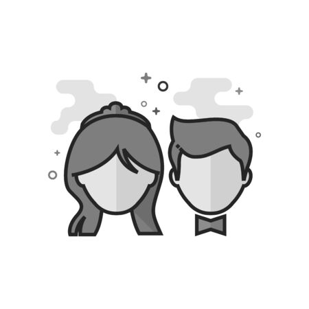 Bride and groom icon in flat outlined grayscale style. Vector illustration.