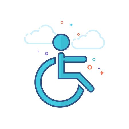 Disabled access icon in outlined flat color style. Vector illustration.