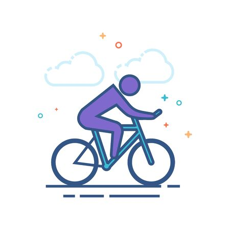 Cycling icon in outlined flat color style. Vector illustration. Stock Illustratie