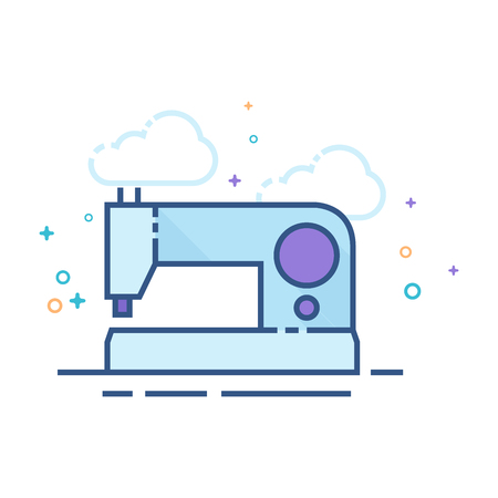 Vintage sewing machine icon in outlined flat color style. Vector illustration.