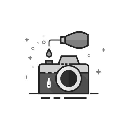 Camera repair icon in flat outlined grayscale style. Vector illustration. Illustration