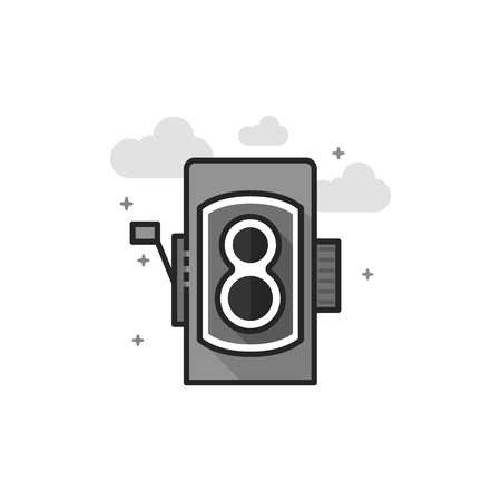 Twin lens reflex camera icon in flat outlined grayscale style. Vector illustration.