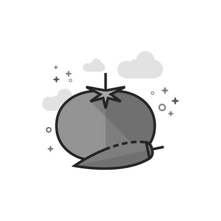 Tomato and pepper icon in flat outlined grayscale style. Vector illustration. Illustration
