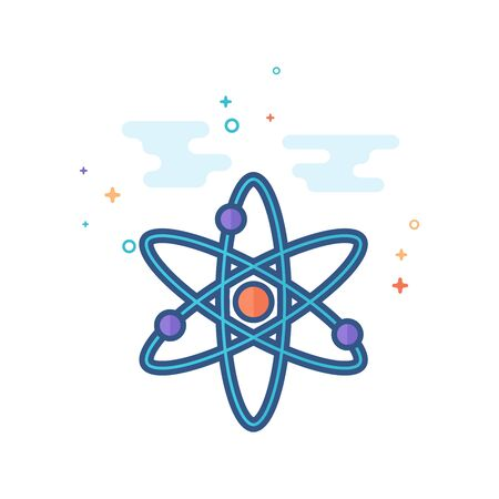 Atom structure icon in outlined flat color style. Vector illustration.