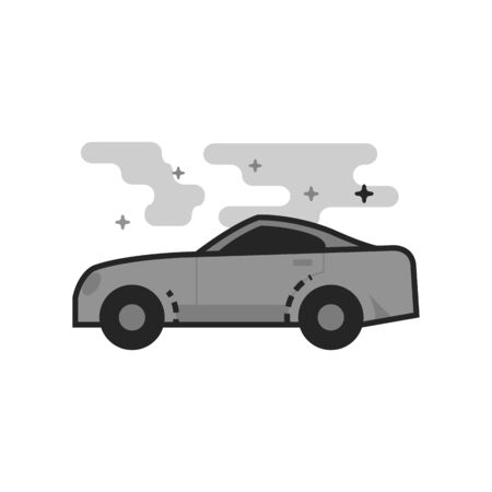 Sport car icon in flat outlined grayscale style. Vector illustration. Illustration
