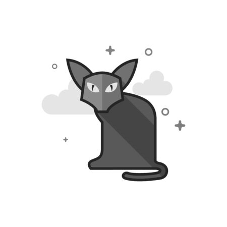 Cat icon in flat outlined grayscale style. Vector illustration.
