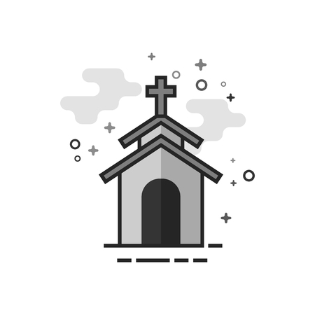 Church icon in flat outlined grayscale style. Vector illustration.