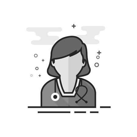 Woman doctor icon in flat outlined grayscale style. Vector illustration.