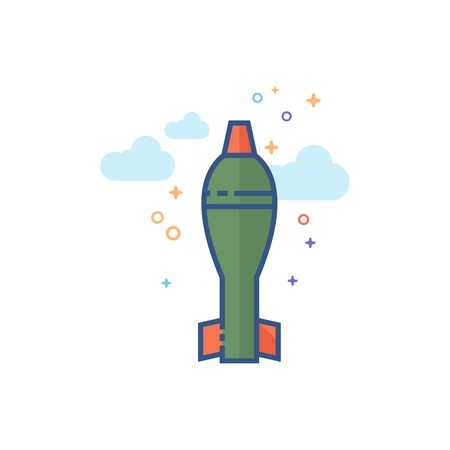 Mortar missile icon in outlined flat color style. Vector illustration. Vectores