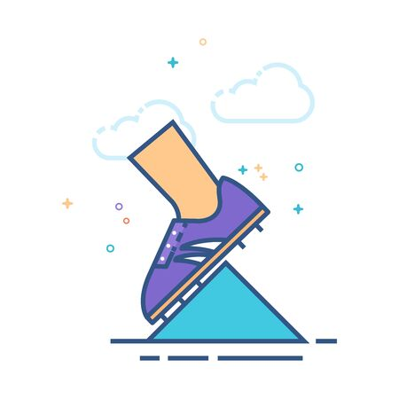 Starting block icon in outlined flat color style. Vector illustration.