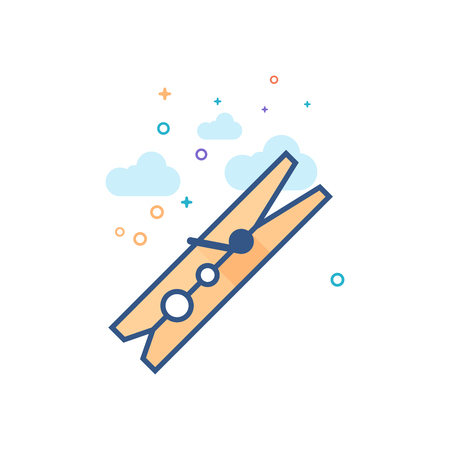 Clamp tool icon in outlined flat color style. Vector illustration.