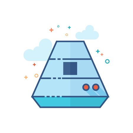 Space capsule icon in outlined flat color style. Vector illustration. Illustration