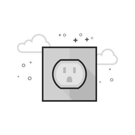 Electrical outlet icon in flat outlined grayscale style. Vector illustration.