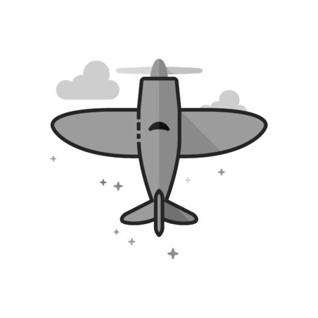 Vintage airplane icon in flat outlined grayscale style. Vector illustration. Illustration