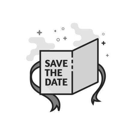 Wedding card icon in flat outlined grayscale style. Vector illustration. Illustration