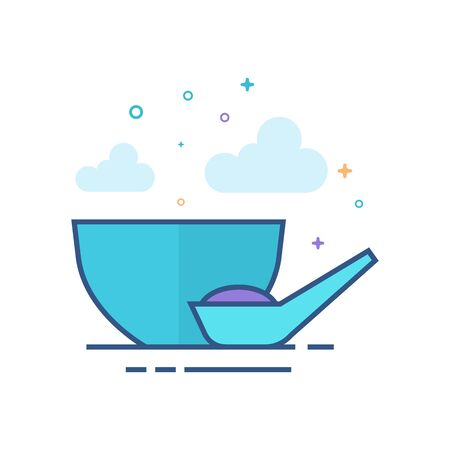 Porridge bowl icon in outlined flat color style. Vector illustration. Illustration