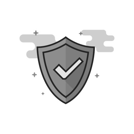 Shield icon with checkmark in flat outlined grayscale style. Vector illustration.
