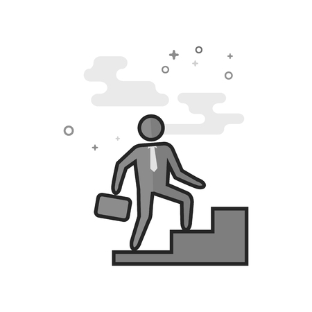 Businessman stairway icon in flat outlined grayscale style. Vector illustration.