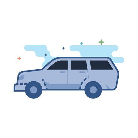 Auto pictogram in overzicht egale kleurstijl. Vector illustratie Stock Illustratie